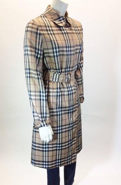 Burberry Classic Plaid Raincoat Trench Coat At 1stdibs