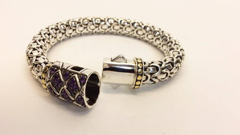 John Hardy Sterling Silver Amethyst And 18k Gold Bracelet