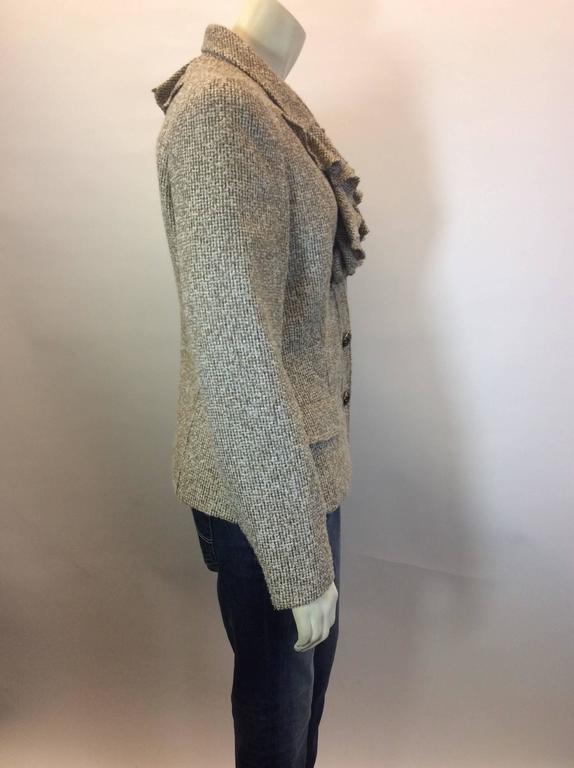 Oscar De La Renta Tan Alpaca Tweed Ruffle Jacket 3