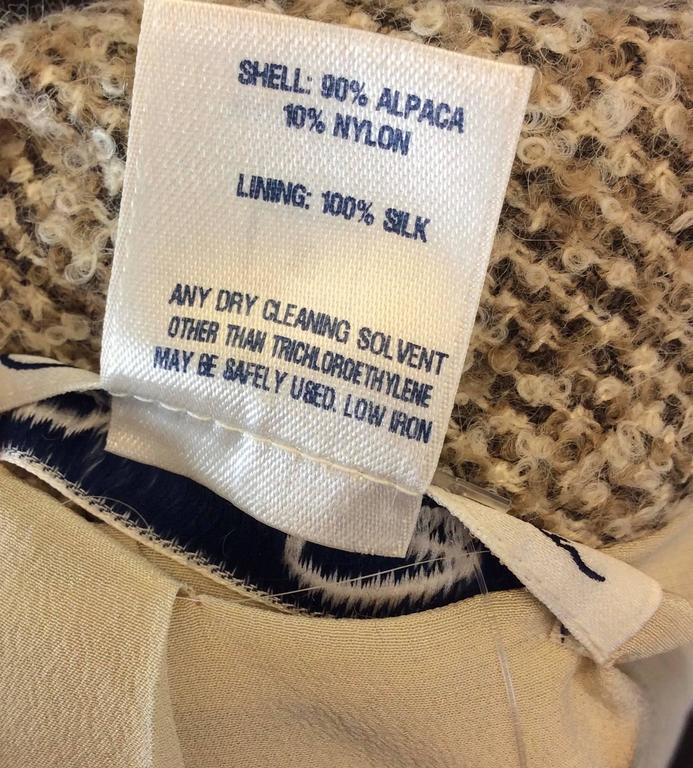 Oscar De La Renta Tan Alpaca Tweed Ruffle Jacket 10