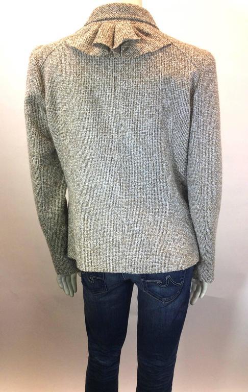 Oscar De La Renta Tan Alpaca Tweed Ruffle Jacket 4