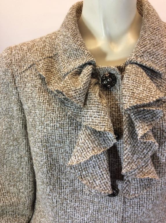 Oscar De La Renta Tan Alpaca Tweed Ruffle Jacket 6