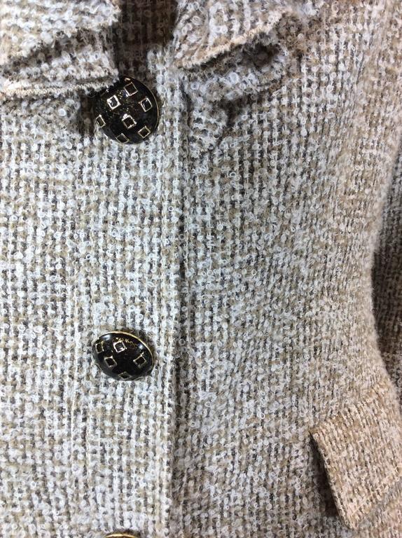 Oscar De La Renta Tan Alpaca Tweed Ruffle Jacket 7