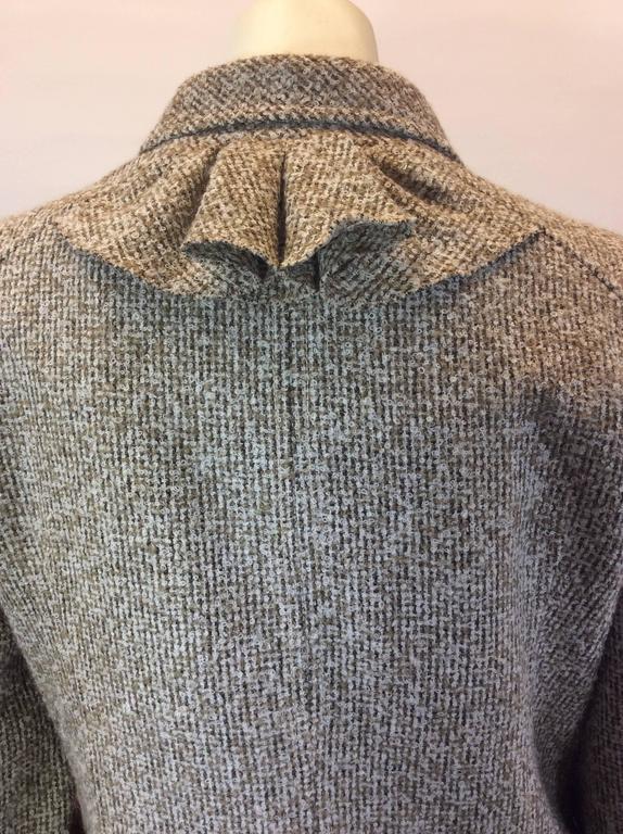 Oscar De La Renta Tan Alpaca Tweed Ruffle Jacket 5