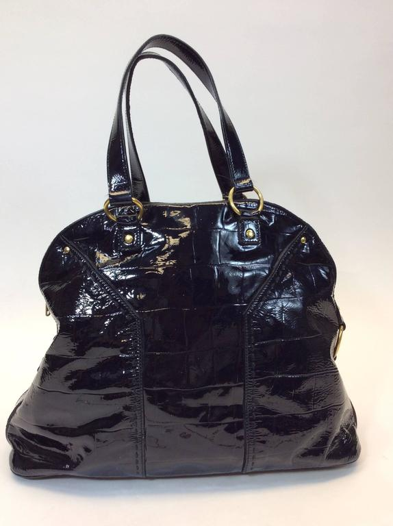 Yves Saint Laurent Black Patent Leather Large Muse Bag For Sale at ...