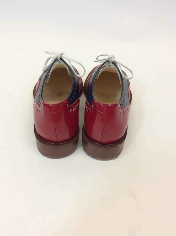 Robert Clergerie Red, White & Blue Leather Oxford Shoe In Excellent Condition For Sale In Narberth, PA