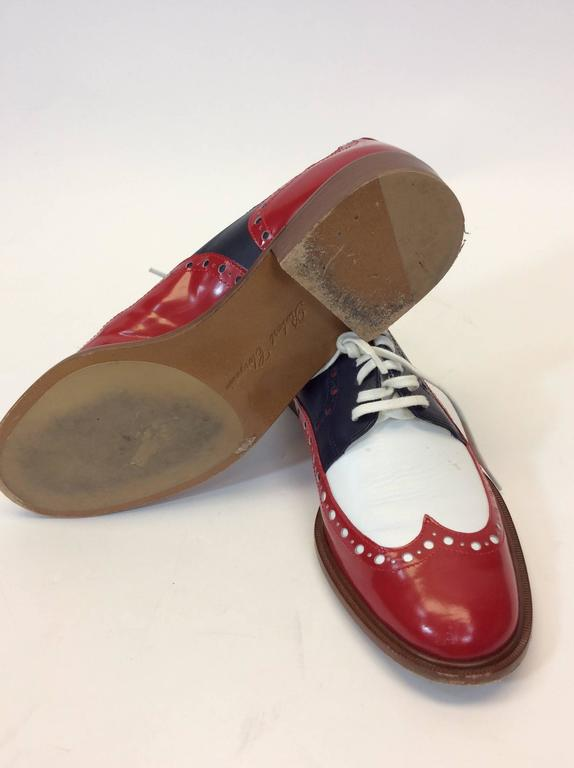 Robert Clergerie Red, White & Blue Leather Oxford Shoe For Sale 1