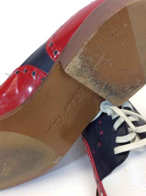 Robert Clergerie Red, White & Blue Leather Oxford Shoe For Sale 2