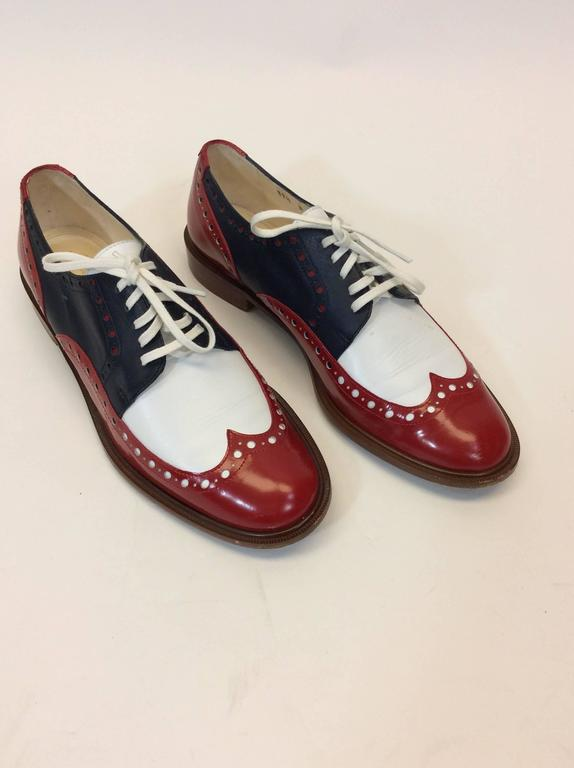 Brown Robert Clergerie Red, White & Blue Leather Oxford Shoe For Sale