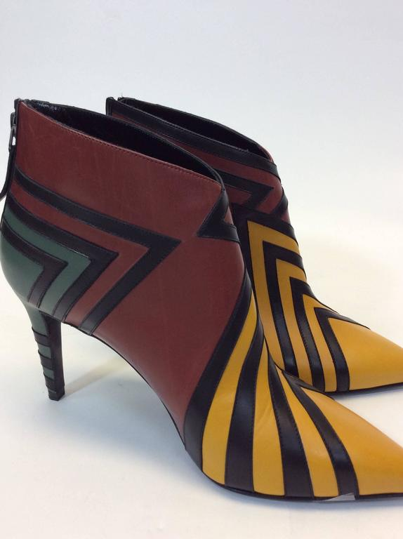 Pierre Hardy Handmade Leather Multi Colored Ankle Bootie
