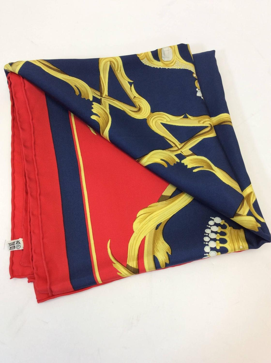 hermes silk crowns scarf for sale at 1stdibs
