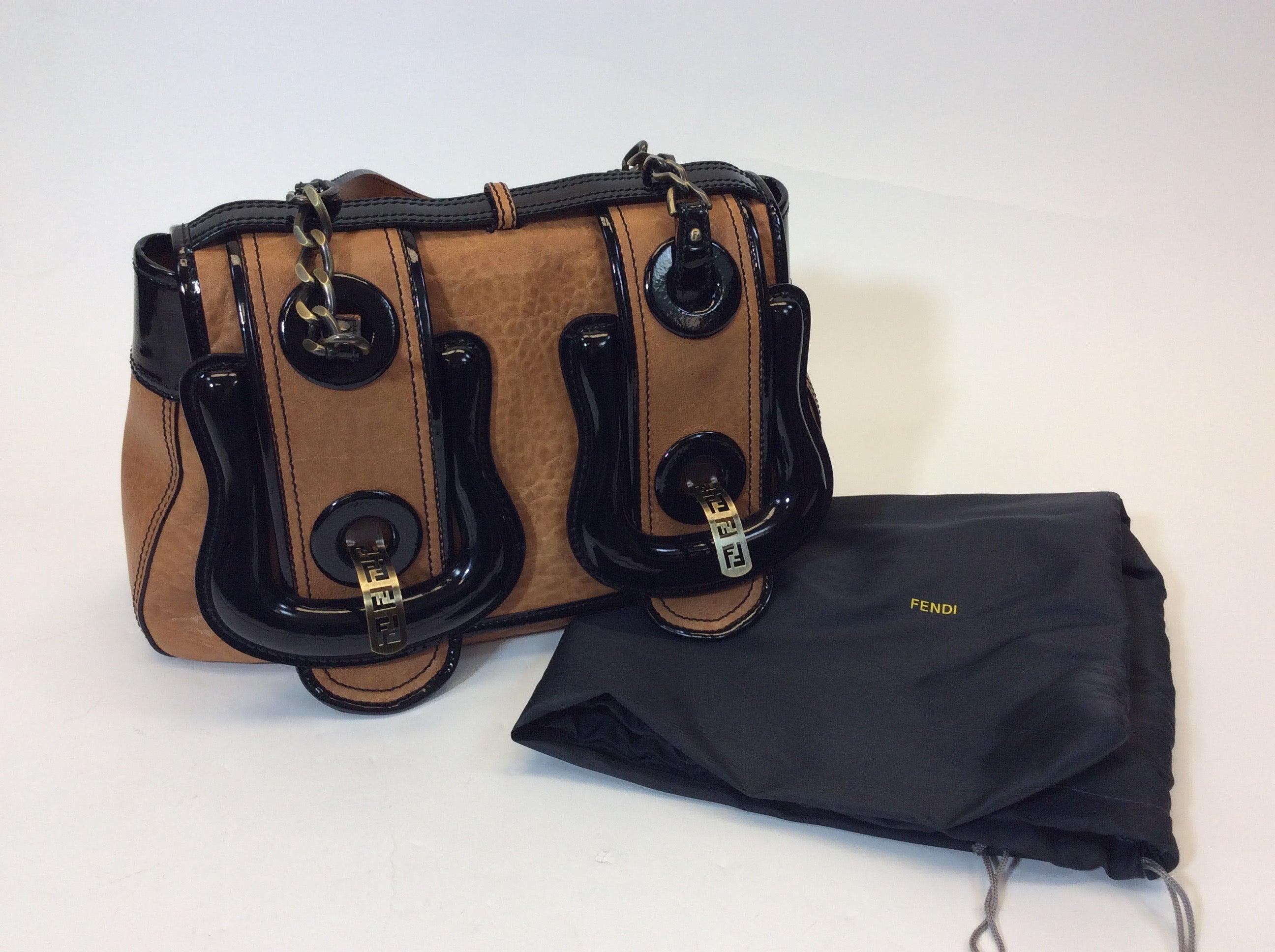 d23e9639e7 Fendi Black Patent and Brown Leather B Buckle Bursa Shoulder Bag For Sale  at 1stdibs