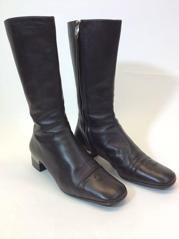 chanel brown leather boots at 1stdibs