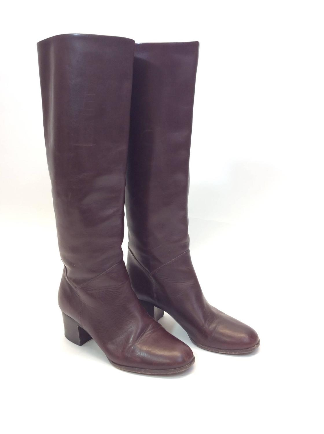 chanel high top chocolate brown leather boots for sale at