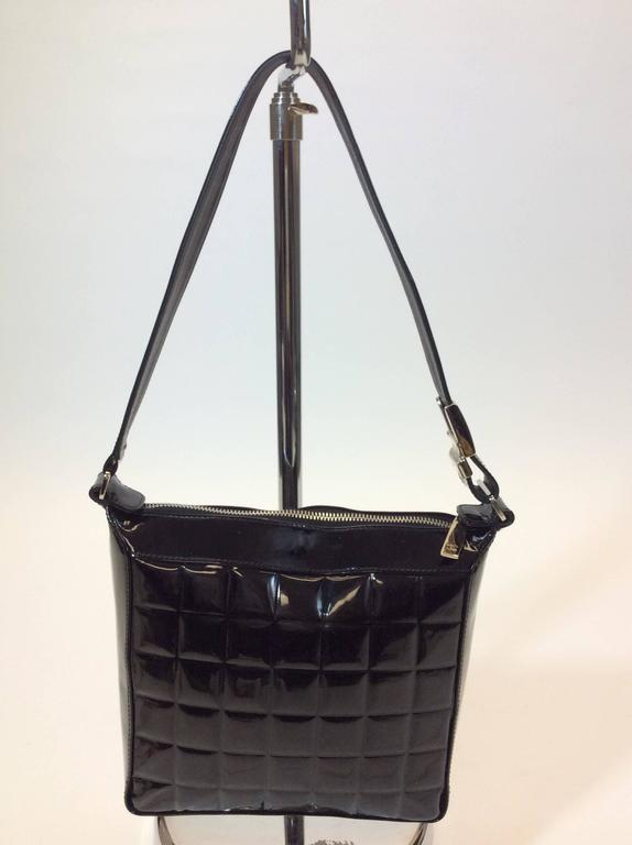 Chanel Black Patent Quilted Leather Top Handle Shoulder
