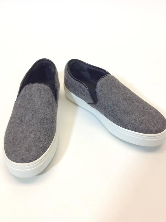 """Celine A/W 16 Collection Light Grey Felt Slip on Sneakers with Stretch Sides Rubber Soles Includes Box and Dust Bag EU Size 36 4"""" Inch Sole Original Price: $680.00"""