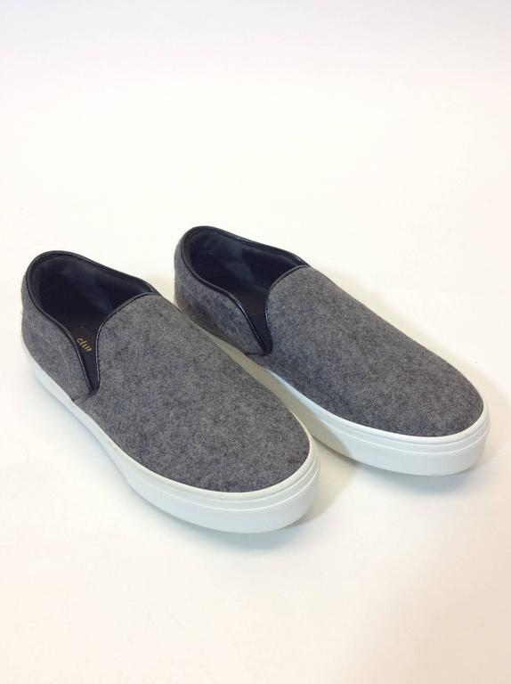 Gray Celine Skate Slip on Grey Felt Sneakers For Sale
