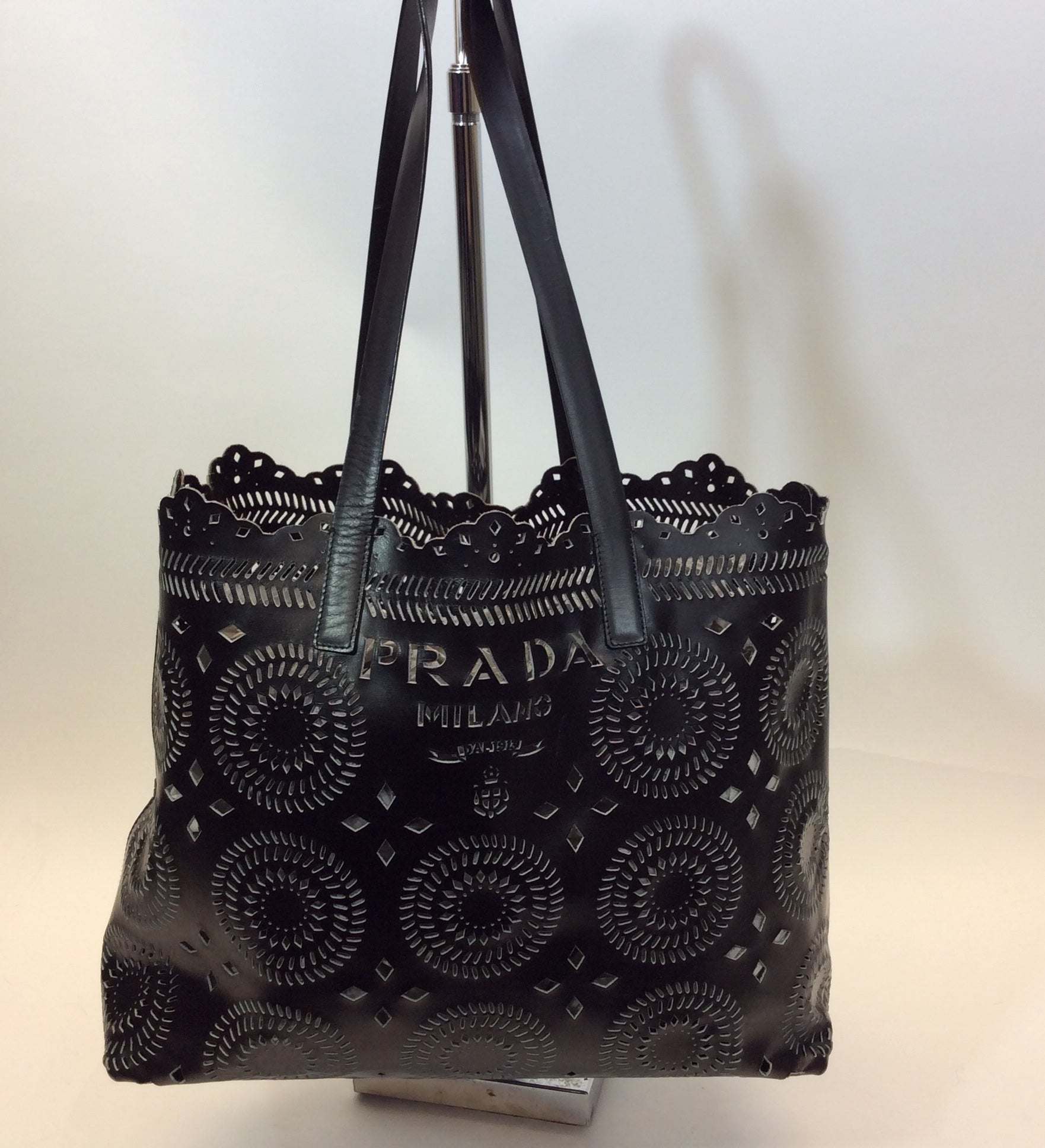 a46339c2b8b633 Prada Black Mandala Laser Cut Tote Bag For Sale at 1stdibs