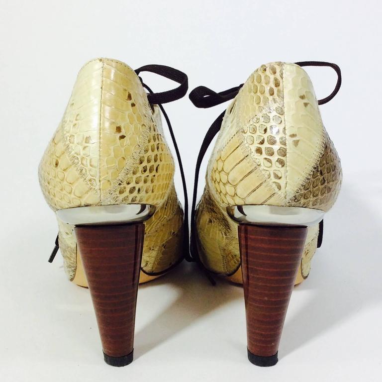 Women's Dolce and Gabanna Tan and Brown Skin Peeptoe Pump