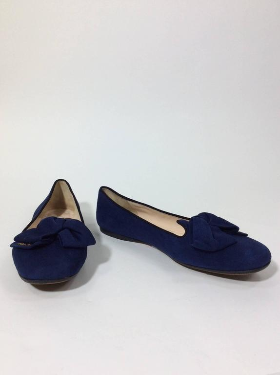 Prada Navy Suede Flats With Bow Detail For Sale At 1stdibs