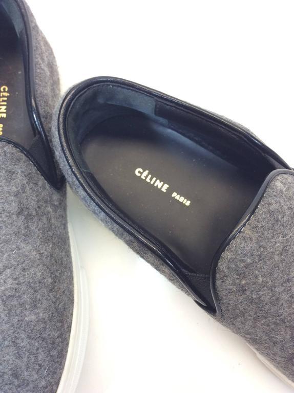 Celine Skate Slip on Grey Felt Sneakers For Sale 2