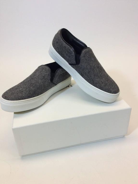Celine Skate Slip on Grey Felt Sneakers For Sale 5