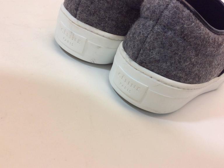 Celine Skate Slip on Grey Felt Sneakers For Sale 4