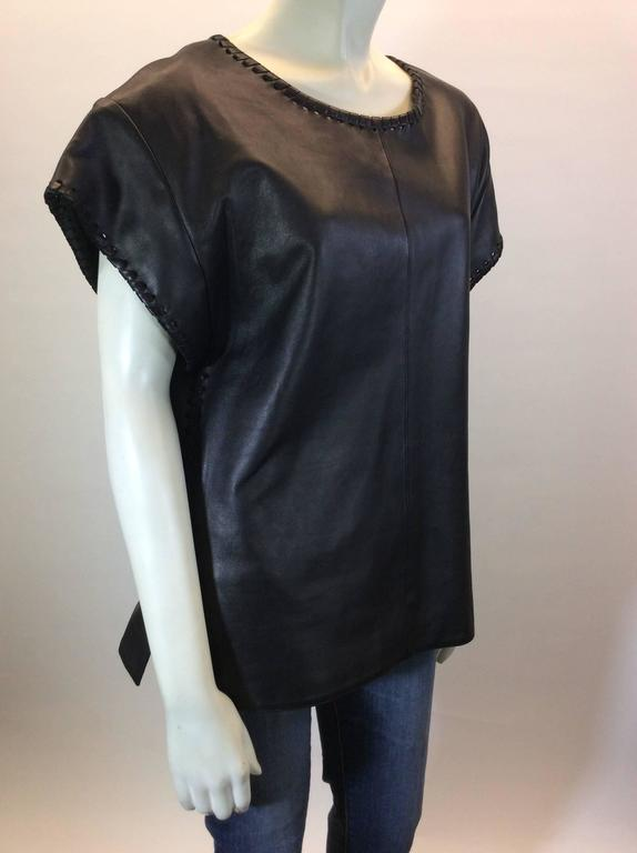 Chloe Black Leather Lambskin Short Sleeve Top  3