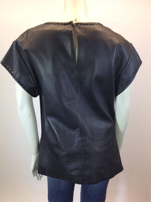 Chloe Black Leather Lambskin Short Sleeve Top  6
