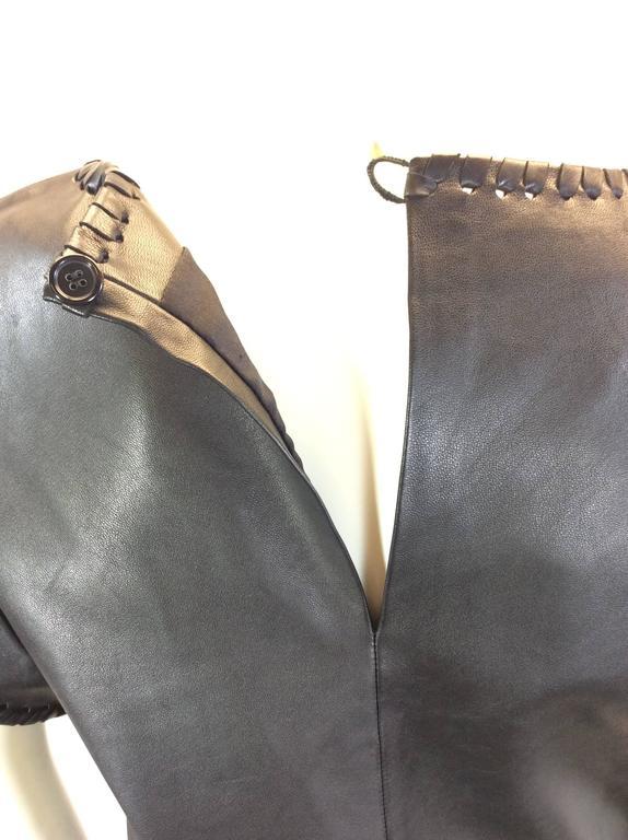 Chloe Black Leather Lambskin Short Sleeve Top  8