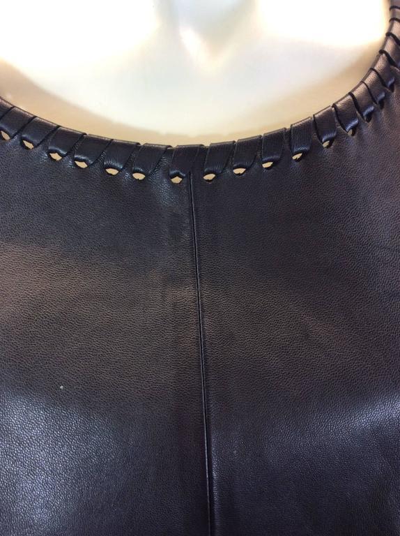Chloe Black Leather Lambskin Short Sleeve Top  5