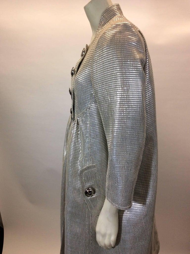 Burberry Silver Metallic Evening Coat At 1stdibs