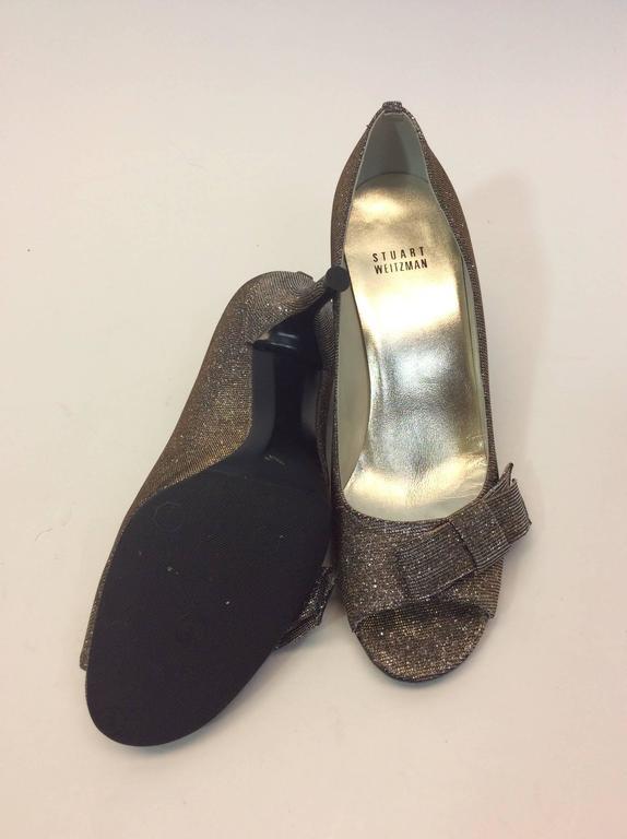 Stuart Weitzman Iridescent Silver Peep Toe Heel With Bow