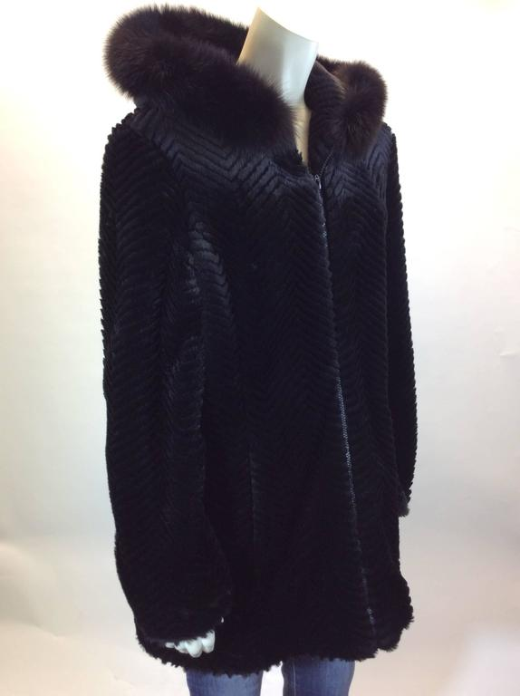 neiman marcus exclusive black faux fur hooded coat for. Black Bedroom Furniture Sets. Home Design Ideas