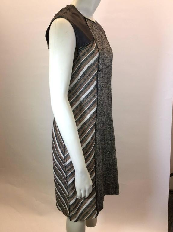 Black Derek Lam Metallic Tweed Dress with Leather Detail
