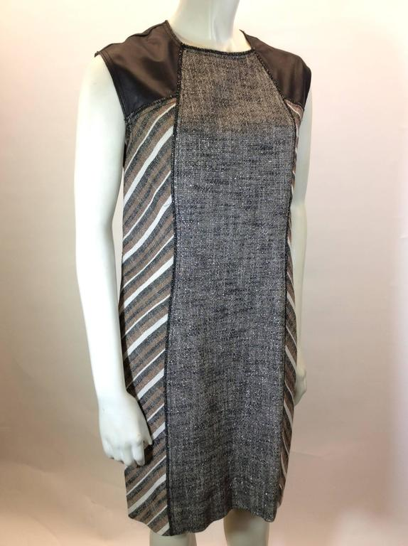 """Grey and Metallic Tweed Print Brown and Grey Strip on Sides Black Leather Detail Sleeves Zipper up Back for Closure 22.5"""" Inches Long Zipper US Size 8"""