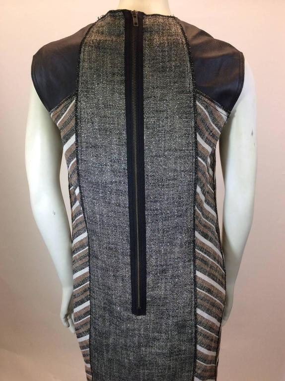 Women's Derek Lam Metallic Tweed Dress with Leather Detail