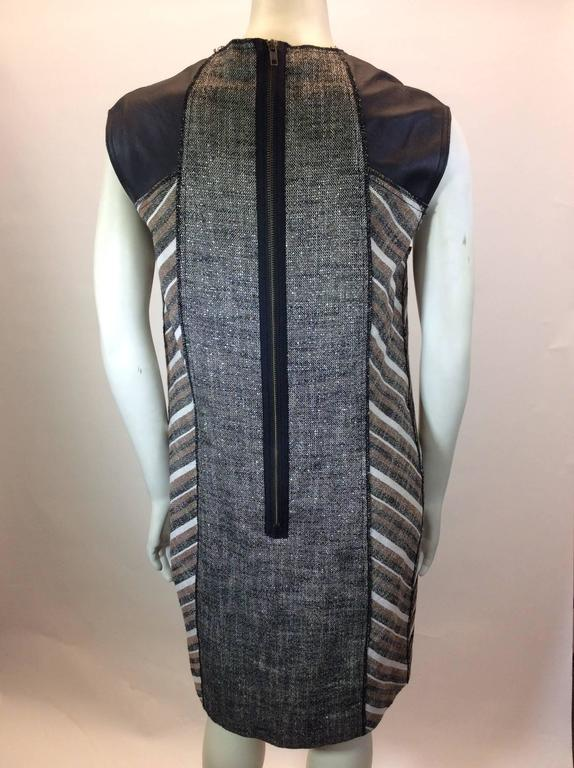 Derek Lam Metallic Tweed Dress with Leather Detail In Excellent Condition In Narberth, PA