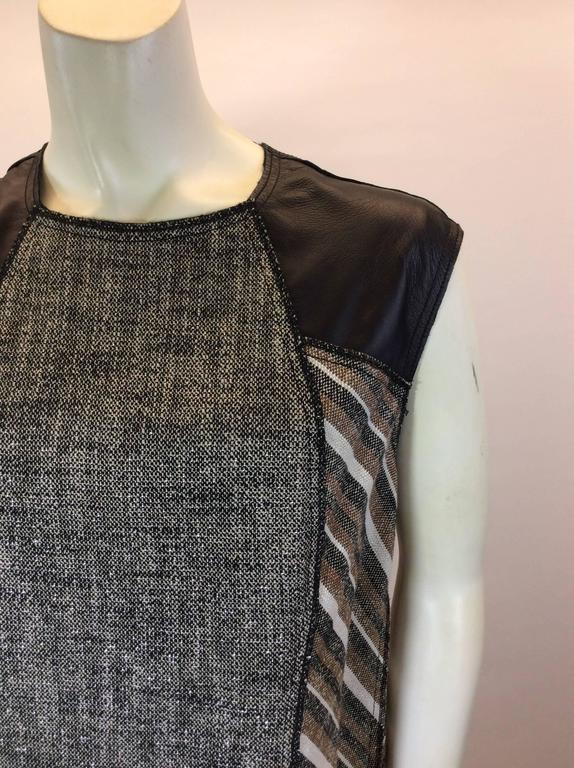 Derek Lam Metallic Tweed Dress with Leather Detail 2