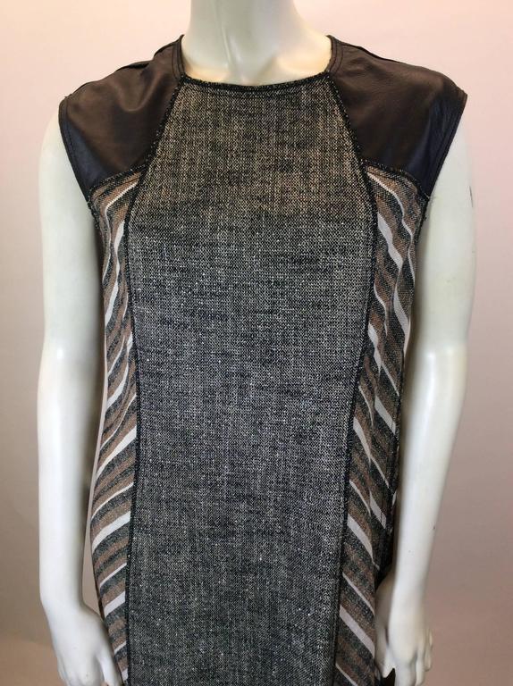 Derek Lam Metallic Tweed Dress with Leather Detail 1