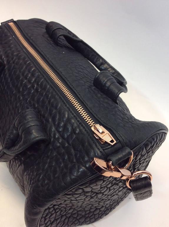 Alexander Wang Black Barrel Bag with Rose