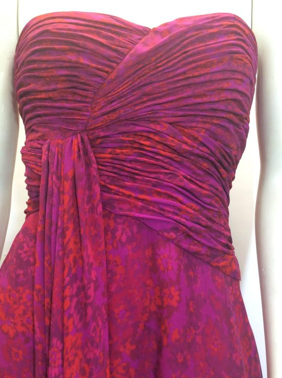 Giambattista Valli Pink Print Rouched Midi Dress In New never worn Condition For Sale In Narberth, PA
