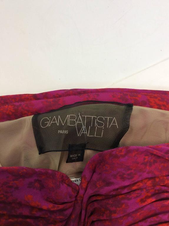 Giambattista Valli Pink Print Rouched Midi Dress For Sale 1