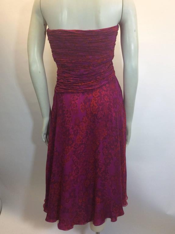 Black Giambattista Valli Pink Print Rouched Midi Dress For Sale