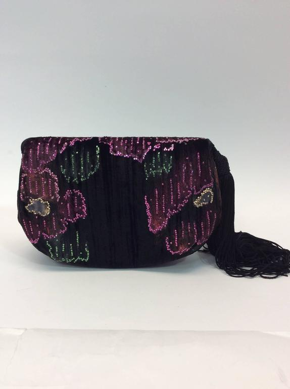 Judith Leiber Vintage Velvet Floral Clutch  In Excellent Condition For Sale In Narberth, PA