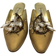 Manolo Blahnik Gold Slides With Pearl Detailing