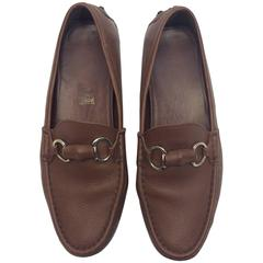 Gucci Brown Leather Driving Loafers