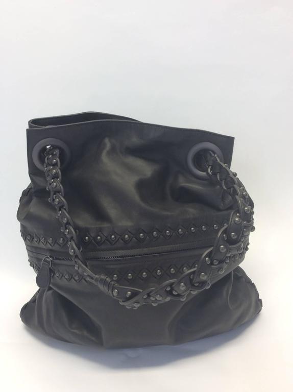 Bottega Veneta Gray Leather Studded Satchel 3