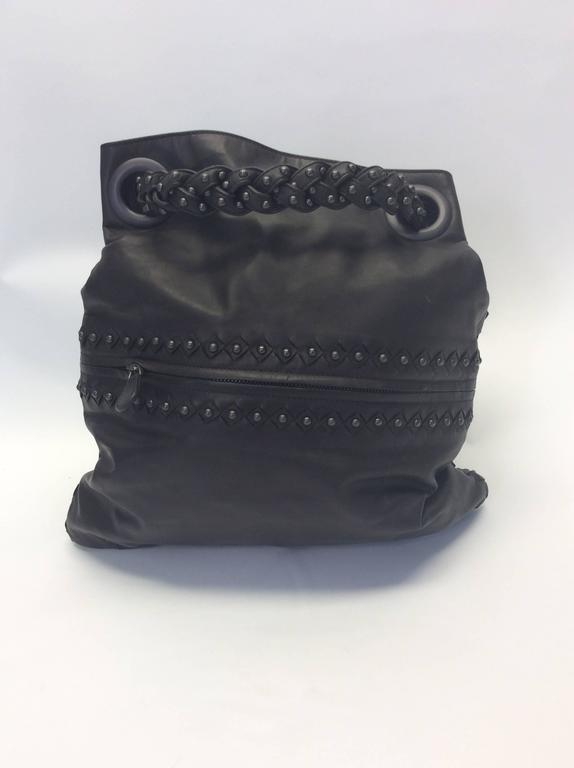 Bottega Veneta Gray Leather Studded Satchel 2