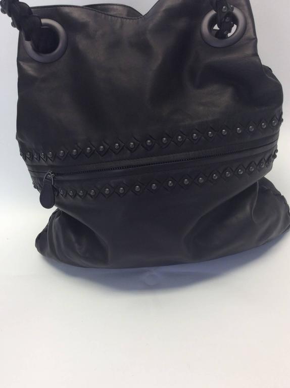 Women's Bottega Veneta Gray Leather Studded Satchel For Sale